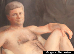 This Stephen Harper nude painting by Margaret Sutherland is stirring debate after being hung in a Kingston Library. (<a href=