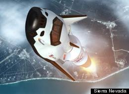 An artistic rendition of the Dream Chaser, a private spacecraft, launching into space.
