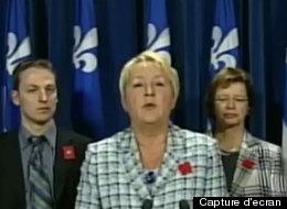 Pauline Marois, suite au vote pour l'adoption de la loi 78. (Capture d'écran)