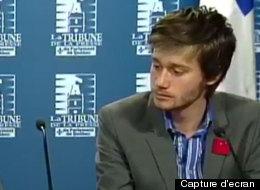 Martine Desjardins et Léo Bureau-Blouin en réaction à l'adoption de la loi 78. (Capture d'écran)