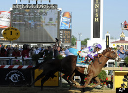 PREAKNESS: I'll Have Another (9) beats Bodemeister to the finish line at Pimlico Race Course, Saturday, May 19, 2012.