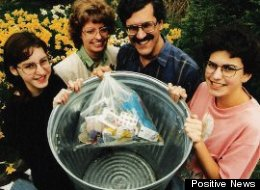 The Burgers in 1995 displaying one year of their garbage waste.