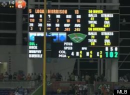 Miami Marlins' Giancarlo Stanton breaks the scoreboard at Marlins Park with a grand slam in the fourth-inning against Jamie Moyer and the Rockies. (MLB)