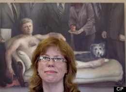 Margaret Sutherland's Stephen Harper nude painting, titled Emperor Haute Couture, has been sold. (CP)
