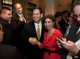 Sen. Marco Rubio (R-Fla.) is greeted at the Latino Coalition annual economic summit Wednesday at the U.S. Chamber of Commerce in Washington.