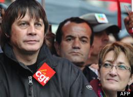 L'actuel secrétaire général de la CGT, Bernard Thibault, au côté de sa dauphine contestée Nadine Prigent
