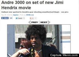 Le chanteur Andre 3000 sur le tournage du biopic consacré à Jimi Hendrix