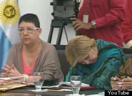 Venezuelan Minister of Education, Maryann Hanson, pictured asleep during a speech by president Hugo Chavez. (YouTube)