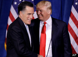 Republican presidential candidate Mitt Romney shakes hands with Donald Trump at a press conference where Trump endorsed Romney, on Feb. 2 in Las Vegas.