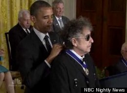 Bob Dylan was among the 13 artists, politicians, and other luminaries President Obama presented with the Presidential Medal of Freedom, America's highest civilian honor.