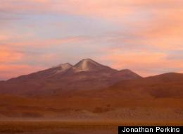 Sunset at Uturuncu, a growing volcano that is surrounded by ancient supervolcanoes.