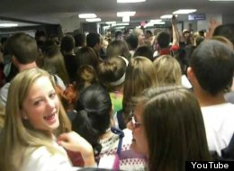Conant High School's packed hallway during this year's senior prank.