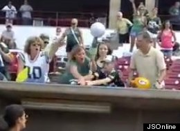 Fans fight for one of Donald Driver's shoes.