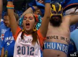 Oklahoma City Thunder superfans show their OKC pride.
