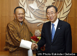United Nations secretary general Ban Ki-moon meets with Jigmi Thinley, prime minister of Bhutan at a UN meeting on 2 April 2012 titled Happiness and Well-being: Defining a New Economic Paradigm.