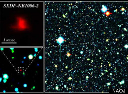 Color composite image of the Subaru XMM-Newton Deep Survey Field. The red galaxy at the center of the image is the most distant galaxy, SXDF-NB1006-2.