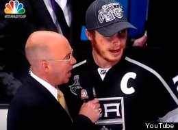 Dustin Brown curses in his postgame interview after the Kings won the Stanley Cup.