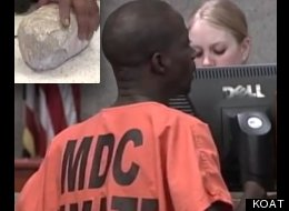 The rock (left) that Koffi Mbairamadji allegedly threw into a KFC window on Friday.