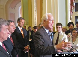 John Cornyn speaks to reporters on Capitol Hill on June 12, 2012, with other GOP leaders.