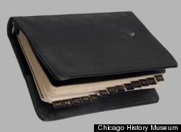 Hugh Hefner's little black book, on display at the Chicago History Museum.
