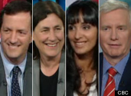 HuffPost's Althia Raj, third from left, appears on CBC The National's At Issue panel to give Parliament its report card. (CBC)