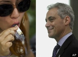 Left: A woman smokes marijuana during a demonstration in favor of legalizing the drug outside the Senate in Mexico City, Friday April 20, 2012. (AP Photo/Eduardo Verdugo) Right: Chicago Mayor Rahm Emanuel testifies at the Illinois State Capitol Tuesday, May 8, 2012 in Springfield, Ill. (AP Photo/Seth Perlman)