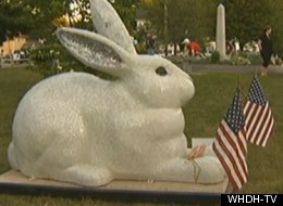 This bunny statue, nicknamed