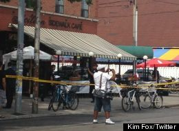 The scene from Toronto's Little Italy, where shots rang out Monday afternoon. Kim Fox/Twitter