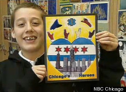 Herbie Pulgar shows off his design, which initially won the Chicago city sticker student design contest, but was later disqualified because some criticized it as containing gang signs. Pulgar's work received a new honor Tuesday, however.
