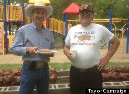 North Dakota gubernatorial nominee Ryan Taylor (left) at the Aneta Turkey Barbecue.
