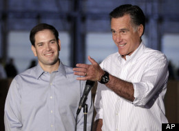 GOP presidential nominee Mitt Romney and potential vice presidential pick Marco Rubio.