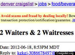 Craigslist ad seeks waiters, waitresses for Swingers party in Denver, Colorado suburb of Westminster.