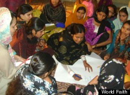 A scene from World Faith Pakistan's project where volunteers give women basic literacy and life skills training