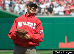 Barack Obama throws out the first pitch during a Nationals game last year