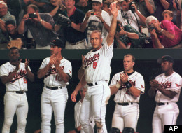 Baltimore Orioles shortstop Cal Ripken Jr. acknowledges the crowd during mid-game ceremonies celebrating Ripken's tying of Lou Gehrig's record of 2,130 consecutive games, at Camden Yards, Baltimore, Md., on September 5, 1995.