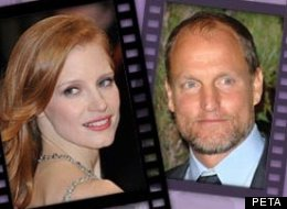 Woody Harrelson and Jessica Chastain have topped PETA's Sexiest Vegetarian Celebrities 2012 Contest.