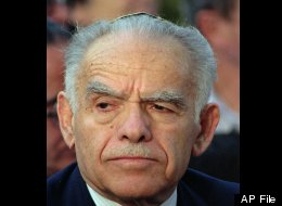 FILE--Former Israeli Prime Minister Yitzhak Shamir, shown in this May, 1991 file photo, a staunch opponent of land-for-peace agreements with the Arabs, announced ,Tuesday, Dec, 26, 1995 that he will not run for parliament in the 1996 general elections. (AP Photo/File/Nati Harnick)