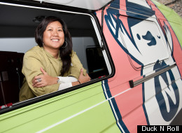 Amy Le in the DucknRoll truck, which serves up delicious bánh mì sandwiches in Chicago.
