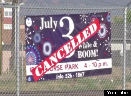 Canceled fireworks poster for a July 3rd fireworks show.