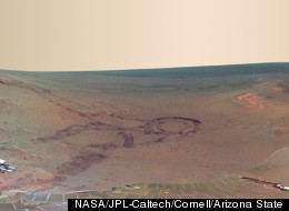 This full-circle scene combines 817 images taken by the panoramic camera (Pancam) on NASA's Mars Exploration Rover Opportunity.