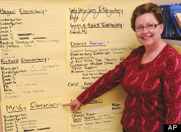 In this June 8, 2012, photo, Dr. Viola LaFontaine, superintendent of the Williston, N.D., Public School District No. 1, points to all the positions that McVay Elementary needs filled before it re-opens this fall, in Williston, N.D. To keep pace with the expected influx of students, school officials are hiring 52 new teachers, adding dozens of modular classrooms and reopening the old McVay Elementary school that shuttered a dozen years ago due to declining enrollment after the region's first oil