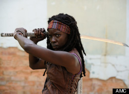 Michonne in action during