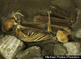 The adult female skeleton from Cladh Hallan. This mummy's lower jaw, arm bone and thighbone all came from different people.