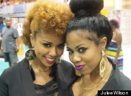 Two stylish ladies attending the Essence Music Festival.