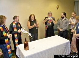Members of TransEpiscopal, an activist group that supports transgender Episcopalians, celebrate the eucharist at the Episcopal Church's General Convention in Anaheim, Calif. in 2009.