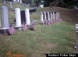 After flags were disappearing from the graves of civil war soldiers at Cedar Park Cemetery in Hudson, N.Y., officials set out surveillance cameras and discovered that groundhogs were the culprits.