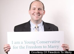 Tyler Deaton, a member of the leadership committee of Young Conservatives for the Freedom to Marry.