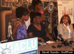 Parent Michelle Johnson is joining a class-action lawsuit in which the ACLU is suing Michigan and Highland Park Schools over the district's extremely low literacy assessment rates, as they announced Thursday, July 12, 2012. (David Sands/HuffPost)
