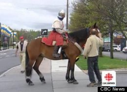 Vincent Gabriel Kirouac, above, is crossing Canada on horseback to spread a message about chivalry.