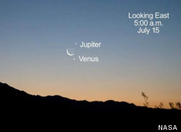 This image shows the bright planets Venus and Jupiter meeting the crescent moon on July 15, 2012.